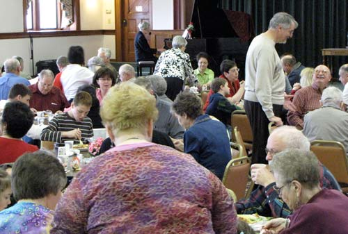 Both the main dining room and the auditorium at the Motherhouse were packed with diners Sunday afternoon.