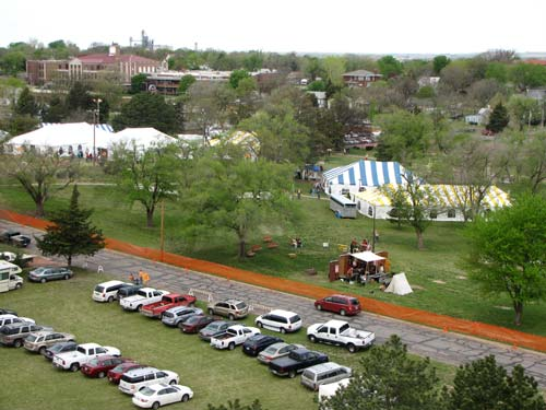 A view from the sixth floor of the tower at the Motherhouse shows a quiet City Park as the Kansas Sampler Festival opens Saturday morning.