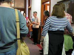Sister Judy Stephens leads a tour at the Motherhouse Saturday afternoon.
