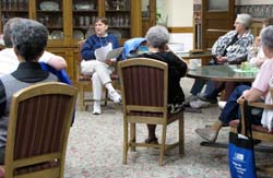 Volunteers gathered Saturday morning at the Motherhouse to review their assignments to host tours throughout the afternoon.