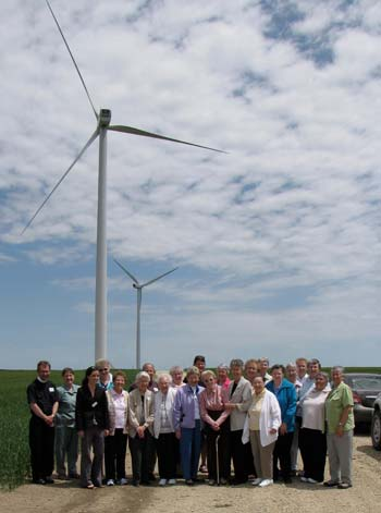 Those on Thursdays field trip to the Horizon Wind Energy turbines south of Concordia gather for a group photo. About 40 Sisters of St. Joseph and local clergy took part in the two-part program.