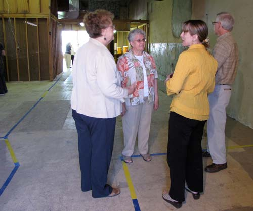 State Rep. Elaine Bowers, second from right, talk with Sisters Regina Ann Brummel, left, and Ramona Medins and facilities administrator Greg Gallagher Thursday afternoon.