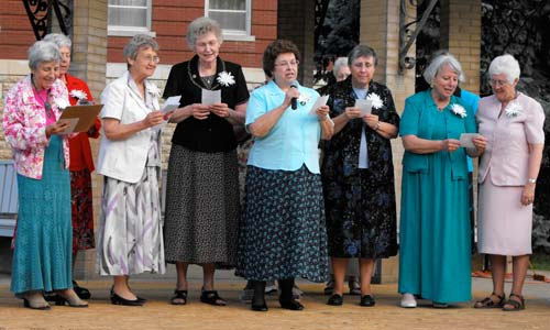 Sisters from the 1959 bands perform a parody of I Enjoy Being a Girl, which was a hit the year they were received into the Sisters of St. Joseph.