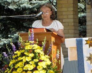 Sister Nair de Sousa Lima reads during the jubilee ceremony.