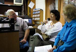 Sister Griselda Martinez-Morales, center, talks with Concordia radio host Roger Nelson about her new role as representative of the Sisters of St. Joseph worldwide to the United Nations. Sister Griselda and Sister Beth Stover, right, appeared on the KNCK-AM talk show June 26.
