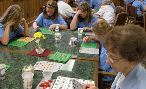 One of the biggest events of the camp this year was a bingo game with the girls and the sisters, including Sister Mary Ester Otter.
