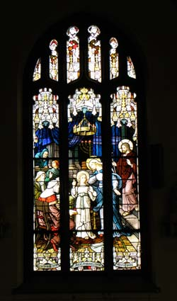 One of the stained-glass windows in the Marymount College chapel, where a special Mass was held for visiting alumni Saturday afternoon.