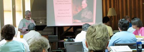 Sister Barbara Baer of the Congregation of St. Joseph in Wichita, was the second presenter, focusing on the history of the congregation from the 18th century forward.