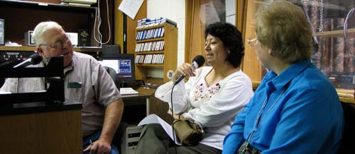 Sisters Griselda Martinez-Morales, center, and Beth Stover, right, were the subjects of an early-morning local radio talk show with host Roger Nelson. Sister Beth, a member of the Concordia congregation, talked about the sisters' 125-year history in Kansas, while Sister Griselda explained her new role with the UN.