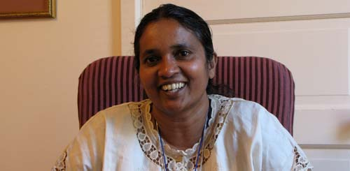 Sister Jasleen Michael of the India Province of the Lyon congregation was one of several sisters who agreed to a videotaped interview to talk about her ministry.