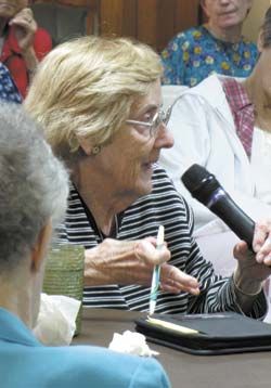 Sister Jeanne McKenna of the Sisters of St. Joseph of Concordia asks a question during Wednesdays lecture.