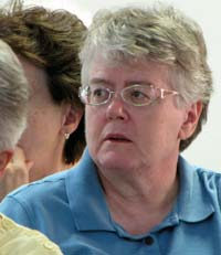 Sister Rosabel Flax, shown listening to a lecture during the 2009 Theological Institute at Manna House of Prayer at the end of July.