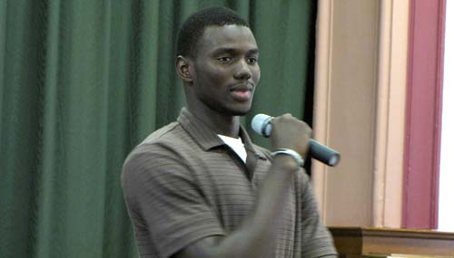 Mohamed Fall, a native of the African nation of Senegal and a freshman at Cloud County Community College, answers questions about his Muslim faith.