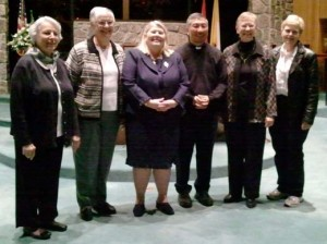 On hand for the agrégée reception were, from left, Sister Diane Brin, Sister Helen Mick, new candidate Crystal Payment, Father Bill Hao, Sister Jodi Creten and fellow candidate Dian Hall.