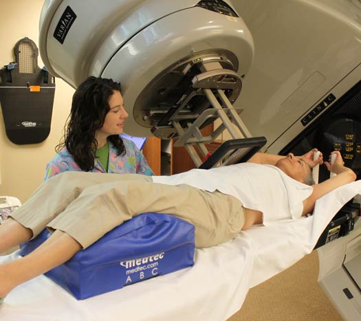 Christina Brodie, Concordia, prepares for radiation treatment as part of her breast cancer treatment.