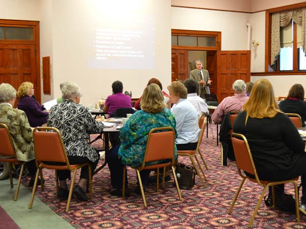 Attorney John W. Mize speaks to workshop participants at the Nazareth Motherhouse Tuesday evening.
