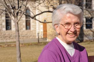 Sister Bette posed for this photograph outside Manna House of Prayer in 2013.