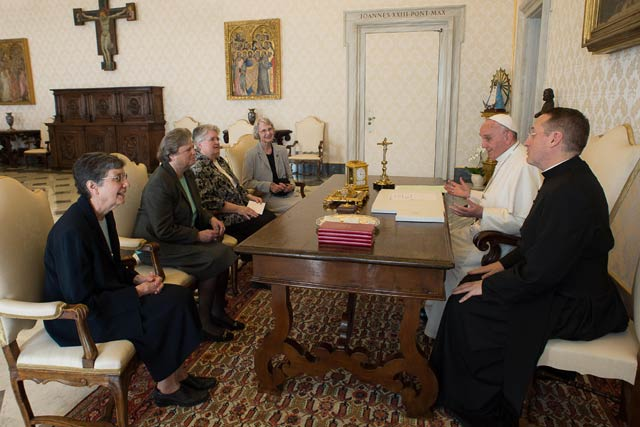Sister Marcia Allen, fourth from left, and other LCWR representatives, meet with Pope Francis April 16 at the Vatican.