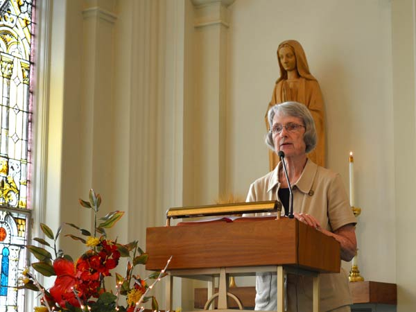 Sister Marcia Allen, president of the Sisters of St. Joseph of Concordia, offers a welcome to begin today's celebration.