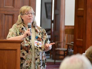 Speaking at today's Community Needs Forum, new CEO Cherri Waites explains the challenges facing Cloud County Health Center.