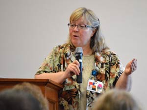 At the end of her presentation today at the Nazareth Motherhouse, Cherri Waites fielded questions from the audience.