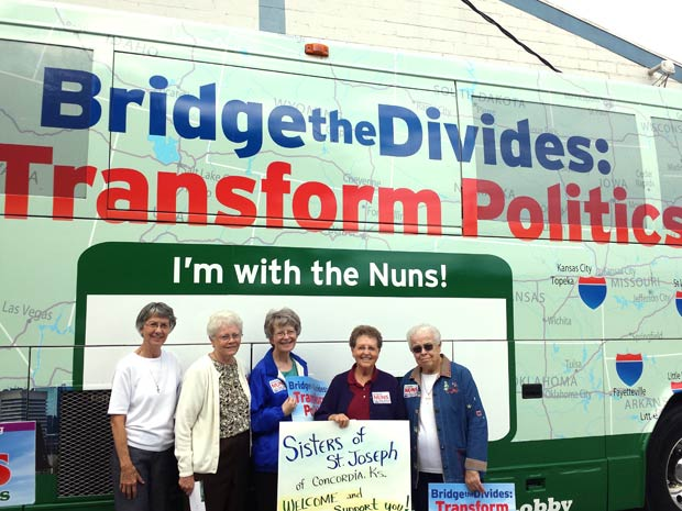 """Sisters of St. Joseph of Concordia in Topeka Saturday to greet """"Nuns on the Bus"""" were, from left, Sisters Judy Stephens, Pat McLennon, Janet Lander, Carm Thibault and Chris Meyer."""