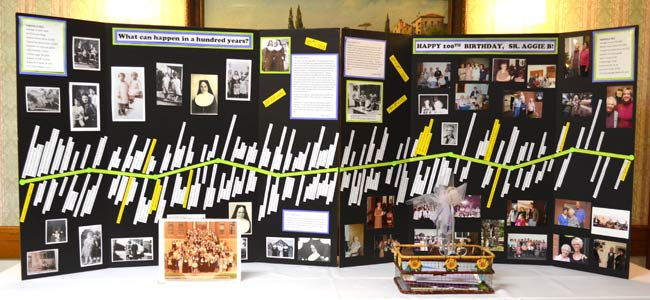 Volunteer Connie Palacio created this timeline of Sister Agnes Bernita's life as part of today's birthday celebration.