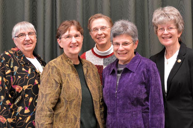 The new Leadership Team elected today are, from left, Sisters Mary Jo Thummel, Jean Rosemarynoski, Therese Blecha, Marilyn Wall and Janet Lander.