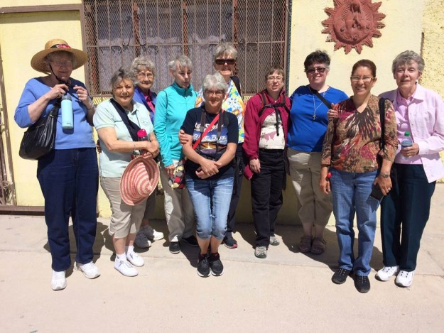 The group in Juarez, from left, Sister Betty Suther, Sister Ann Ashwood, Sister Mary Ann Larocque, Cecilia Thrash, Sister Missy Crawford, Sister Christine Carbotte, Sister Patricia Urbinelli, the director of the sewing co-op and another sister who serves in El Paso.
