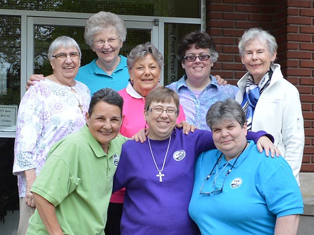 The novices and the program directors. Front row, from left: Sisters Christina Brodie, Christine Carbotte and Donna Smith. Back row, from left: Sisters Mary Jo Thummel, Betty Suther, Ann Ashwood, Patricia Urbinelli and Mary Anne Larocque.