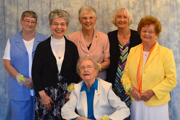 Our 2016 Jubilarians: seated, Sister Margaret Schreck; standing, from left, Sister Susan Stoeber, Sister Janet LeDuc, Sister Helen Mick, Sister Mary Fran Simon and Sister Julie Galan.