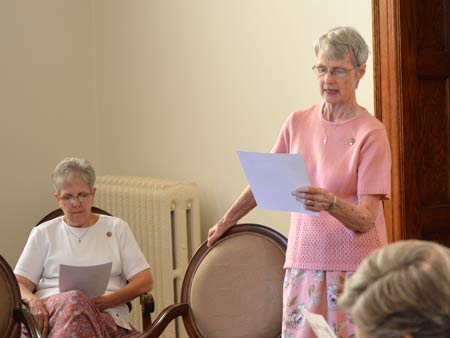 """Sister Marcia Allen leads a discussion titled """"What is a Sister of St. Joseph?"""" during Saturday's information session at the Motherhouse."""