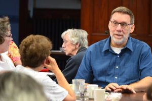 """Fellow theologian Dr. Catherine Michard, CSJ, left, called Dr. Richard Gaillardetz """"the best ecclesiologist in Catholic teaching today."""" With them in a small group disucssion Saturday was Sister Carm Thibault, center."""