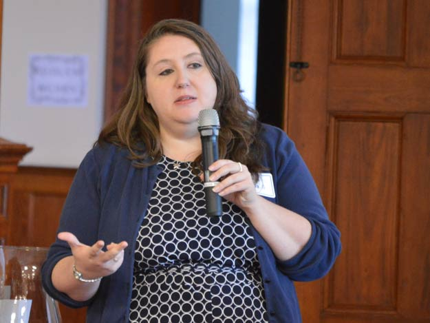 Cloud County Resource Center executive director Tonya Merrill works to dispel stereotypes duirng a presentation at the Nazareth Motherhouse this afternoon (Sept. 28).